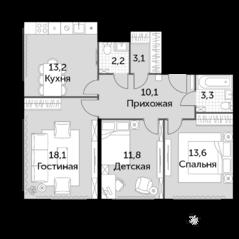 МФК «Движение. Тушино», планировка 3-комнатной квартиры, 75.40 м²