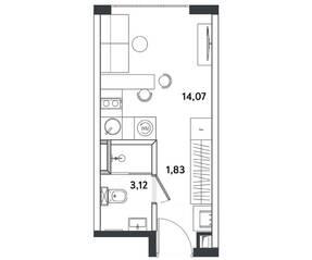 Апарт-отель «Измайловский парк», планировка студии, 19.02 м²