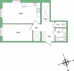 ЖК «IQ Гатчина», планировка 1-комнатной квартиры, 53.63 м²