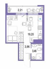 ЖК «Европейский парк», планировка студии, 28.83 м²