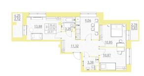 ЖК «Столичный-2», планировка 3-комнатной квартиры, 65.51 м²
