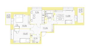 ЖК «Столичный-2», планировка 3-комнатной квартиры, 65.09 м²