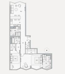 ЖК «Береговой» (Филёвский парк), планировка 2-комнатной квартиры, 105.00 м²