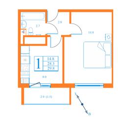ЖК «Лесной квартал», планировка 1-комнатной квартиры, 29.80 м²
