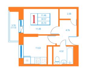 ЖК «Лесной квартал», планировка 1-комнатной квартиры, 35.70 м²