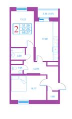 ЖК «Лесной квартал», планировка 2-комнатной квартиры, 68.27 м²