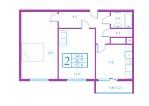 ЖК «Лесной квартал», планировка 2-комнатной квартиры, 57.90 м²