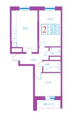 ЖК «Лесной квартал», планировка 2-комнатной квартиры, 63.47 м²
