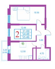 ЖК «Лесной квартал», планировка 2-комнатной квартиры, 55.46 м²