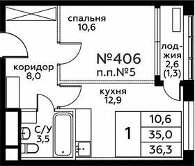 ЖК «Вереск», планировка 1-комнатной квартиры, 36.30 м²