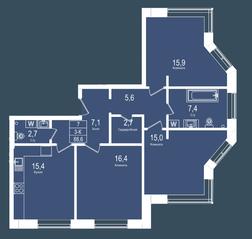 ЖК «Городские резиденции SPIRES», планировка 3-комнатной квартиры, 88.60 м²