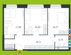 МФК «Citimix», планировка 2-комнатной квартиры, 72.60 м²
