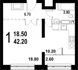 ЖК «Серебро», планировка 1-комнатной квартиры, 42.20 м²