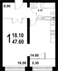 ЖК «Серебро», планировка 1-комнатной квартиры, 47.60 м²
