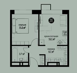ЖК «Квартал на Никулинской», планировка 1-комнатной квартиры, 38.60 м²