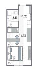 Апарт-отель «Kirovsky Avenir», планировка студии, 22.48 м²