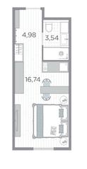 Апарт-отель «Kirovsky Avenir», планировка студии, 25.26 м²