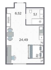 Апарт-отель «Kirovsky Avenir», планировка студии, 36.11 м²