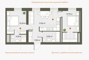 ЖК «Аура», планировка 2-комнатной квартиры, 55.90 м²