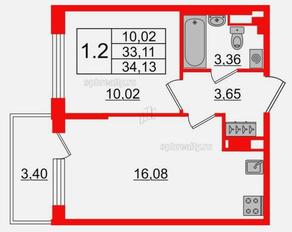 МЖК «Солнечный город Резиденции», планировка 1-комнатной квартиры, 34.13 м²