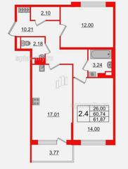 МЖК «Солнечный город Резиденции», планировка 2-комнатной квартиры, 61.87 м²