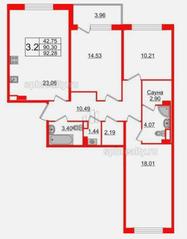 МЖК «Солнечный город Резиденции», планировка 3-комнатной квартиры, 92.28 м²