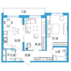 ЖК «Leningrad», планировка 2-комнатной квартиры, 73.90 м²