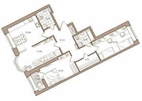 ЖК «Новое Купчино», планировка 3-комнатной квартиры, 95.56 м²