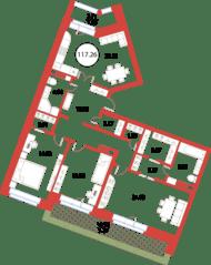 ЖК «Ariosto!», планировка 3-комнатной квартиры, 117.26 м²