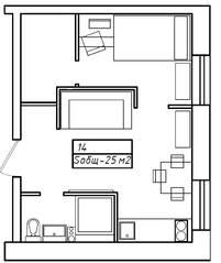 Апарт-отель «Морской бриз», планировка 1-комнатной квартиры, 25.00 м²