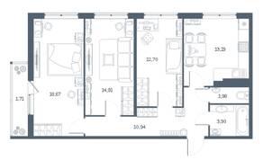 ЖК «Геометрия» (Кудрово), планировка 3-комнатной квартиры, 78.51 м²