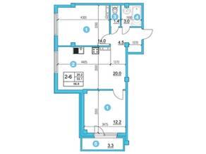 ЖК «O'Range», планировка 2-комнатной квартиры, 55.10 м²
