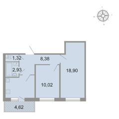 ЖК «Клёны», планировка 2-комнатной квартиры, 54.50 м²