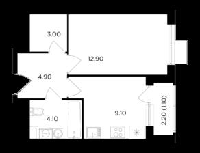 ЖК «Миловидное», планировка 1-комнатной квартиры, 35.10 м²