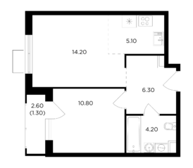 ЖК «Миловидное», планировка 2-комнатной квартиры, 41.90 м²