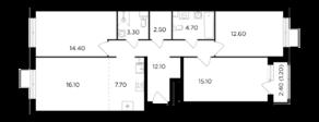 ЖК «Миловидное», планировка 4-комнатной квартиры, 89.80 м²