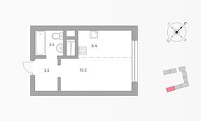 ЖК «Бригантина», планировка студии, 23.60 м²