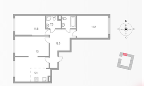 ЖК «Бригантина», планировка 4-комнатной квартиры, 74.40 м²
