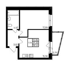 ЖК «Медем», планировка 1-комнатной квартиры, 38.44 м²