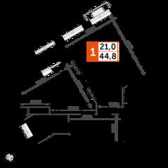 ЖК UP-квартал «Римский», планировка 1-комнатной квартиры, 44.80 м²
