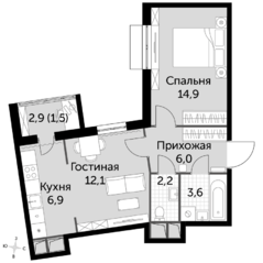 ЖК UP-квартал «Римский», планировка 2-комнатной квартиры, 47.20 м²