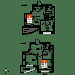 ЖК UP-квартал «Римский», планировка 3-комнатной квартиры, 64.50 м²
