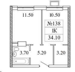 ЖК «Видный берег 2», планировка 1-комнатной квартиры, 34.10 м²