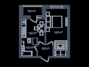 ЖК Светлый мир «Станция «Л», планировка 1-комнатной квартиры, 35.60 м²