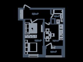 ЖК Светлый мир «Станция «Л», планировка 1-комнатной квартиры, 44.79 м²