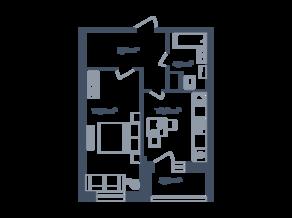 ЖК Светлый мир «Станция «Л», планировка 1-комнатной квартиры, 38.64 м²