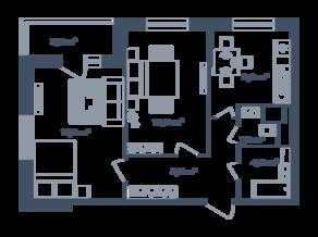 ЖК Светлый мир «Станция «Л», планировка 2-комнатной квартиры, 56.31 м²