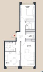 МФК «Ривер Парк», планировка 2-комнатной квартиры, 68.70 м²