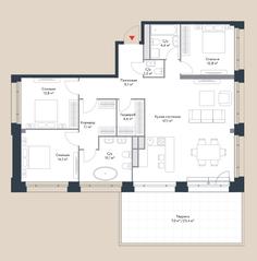 МФК «Ривер Парк», планировка 4-комнатной квартиры, 132.20 м²