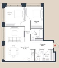МФК «Ривер Парк», планировка 3-комнатной квартиры, 83.60 м²